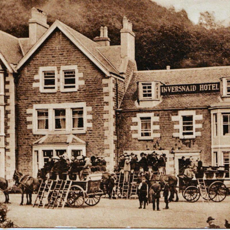 Inversnaid Hotel with carriages